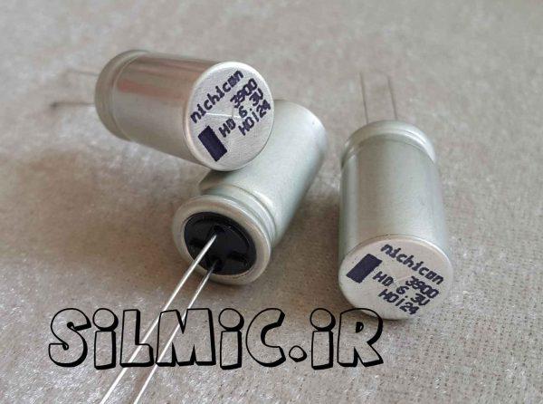 خازن های فرکانس 3900 میکرو فاراد 6.3 ولت nichicon