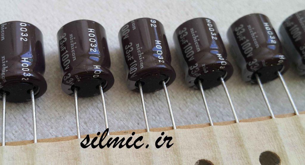 خازن الکترولیتی 33 میکرو فاراد 100 ولتی nichicon