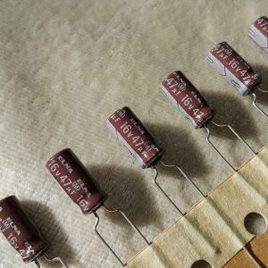 خازن آدیو 47 میکرو فاراد 16 ولت الکترولیت