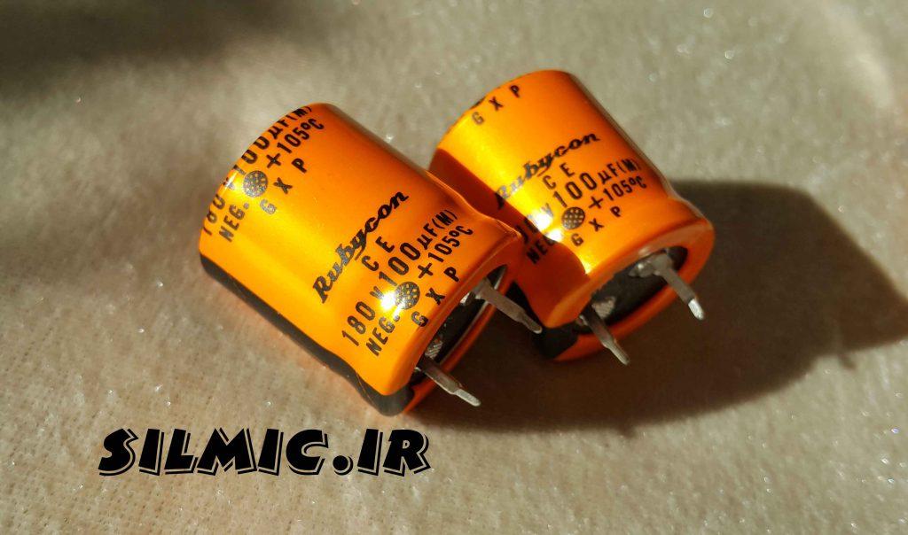 خازن الکترولیت 100 میکرو فاراد 180 ولت