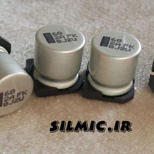 خازن smd الکترولیت 68 میکرو فاراد 100 ولت
