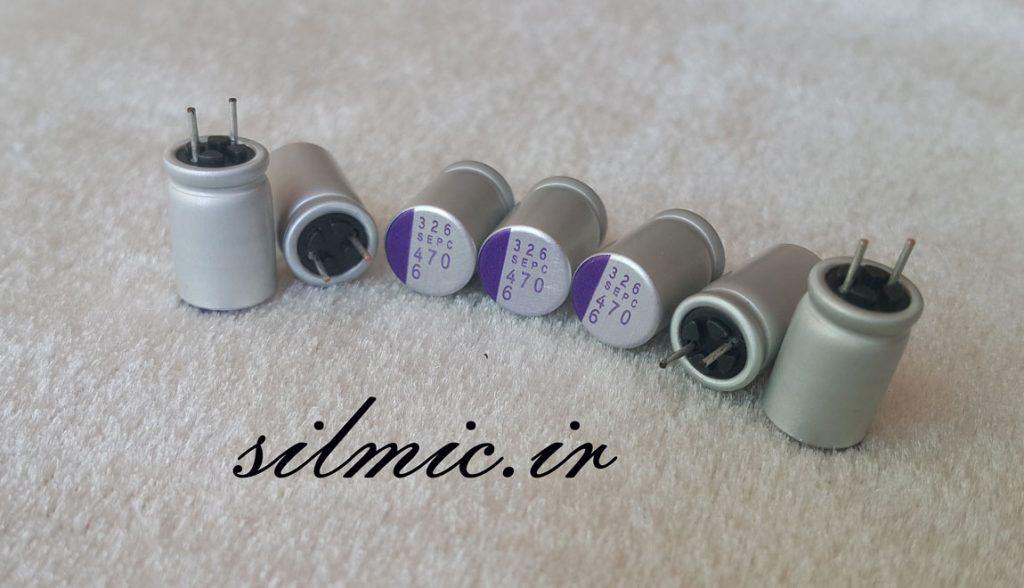 خازن پلیمر جامد 470 میکرو فاراد 6.3 ولت