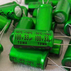 خازن ادیو 33 میکرو فاراد 100 ولت TOWA