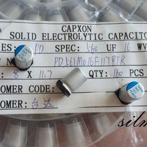 خازن جامد 560 میکرو فاراد 16 ولت smd