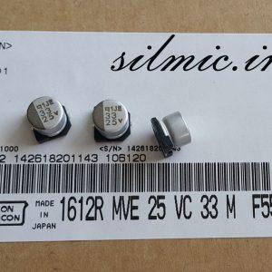 خازن 33 میکرو فاراد 25 ولت SMD ساخت Nippon ژاپن سری MVE استاندارد