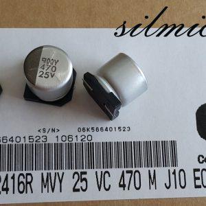 خازن 470 میکرو فاراد ۲۵ ولت SMD ساخت Nippon ژاپن سری MVY امپدانس پایین