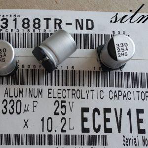 خازن 330 میکرو فاراد ۲۵ ولت SMD ساخت Panasonic سری ECE