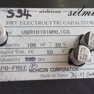 خازن 100 میکرو فاراد 50 ولت SMD ساخت nichicon ژاپن سری UUR مینیاتوری