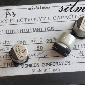 خازن 100 میکرو فاراد 50 ولت SMD ساخت Nichicon ژاپن سری UUL با طول عمر بالا