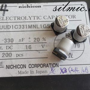 خازن 330 میکرو فاراد 16 ولت smd ساخت nichicon ژاپن سری UUD امپدانس پایین