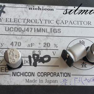 خازن 470 میکرو فاراد 6.3 ولت SMD ساخت nichicon ژاپن سری UCD امپدانس پایین